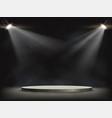 spotlights illuminates a round empty stage vector image