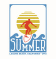 surfer man vintage stamp from california beach vector image