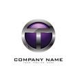 t 3d circle chrome letter logo icon design vector image