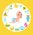 toddler infant in diaper crawl on all fours vector image vector image
