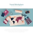 Travel infographic workspace set Concept planning vector image vector image