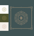 vintage monogram logo elegant flourishes line art vector image vector image