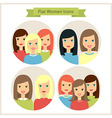 Women Flat Characters Circle Icons Set vector image