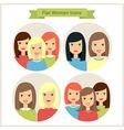 Women Flat Characters Circle Icons Set vector image