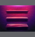 wood shelf on brick wall background neon light vector image