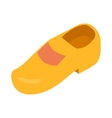 Yellow wooden shoe icon in isometric 3d style vector image vector image