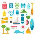 Flat design beach items set vector image