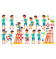 asian teen boy poses set positive person vector image vector image
