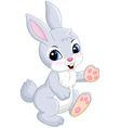 Baby of gray rabbit on white background vector image vector image