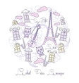 Background with Tour Eiffel and saxophone vector image vector image