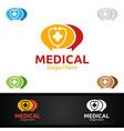 blog or chat cross medical hospital logo vector image vector image