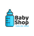 blue pacifier baby shop line logo design template