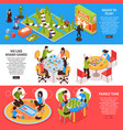 board games people isometric banners vector image vector image