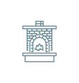 brick fireplace linear icon concept brick vector image