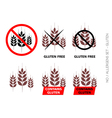 Brown Gluten Free Signs isolated on white b vector image