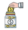 businessman hand saving the coin in the glass jar vector image vector image