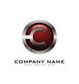 c 3d circle chrome letter logo icon design vector image