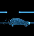 car on night road form lines and particles vector image vector image