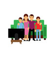 cheerful family watching tv husband and wife with vector image