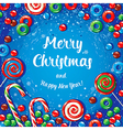 Christmas card poster banner with candies and vector image vector image