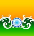 creative indian flag design with wheel and florals vector image vector image