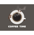 Cup of coffee with beans top view vector image vector image
