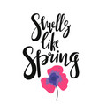 cute print with lettering smells like spring vector image vector image