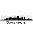 davenport city skyline black and white silhouette vector image vector image