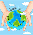 earth day in hands vector image vector image