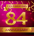 eighty four years anniversary celebration design vector image vector image