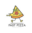 fast pizza logo design food service delivery vector image vector image