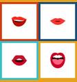 flat icon lips set of teeth tongue laugh and vector image