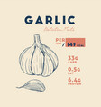 health benefits of garlic nutrition facts hand vector image