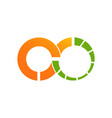 infinity design logo template with green orange vector image vector image