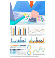 infographics and business man calculating info vector image vector image