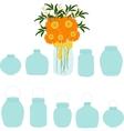 Jars set bouquet of herberas in jar vector image vector image