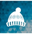 knitted cap winter blue abstract background vector image