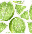 lime slices in seamless realistic pattern vector image vector image