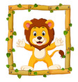 lion on the wood frame with roots and leaf vector image vector image