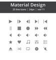 material design play line icons vector image vector image