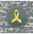 Military Camo Pattern and Yellow Ribbon vector image