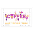 people drink coffee website landing page men vector image vector image