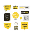 quick tips helpful tricks logos emblems vector image vector image