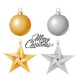realistic christmas tree toy ball star vector image