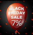 red balloon with text black friday sale seven vector image vector image