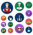 restaurant and bar flat icons in set collection vector image vector image