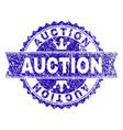 scratched textured auction stamp seal with ribbon vector image vector image