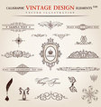 set Calligraphic vintage elements and page vector image vector image