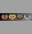 set four ornamental floral paisley heart design vector image