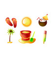 set isolated items for summer holidays vector image vector image